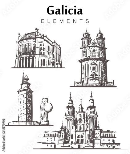 Set of hand-drawn Galicia buildings. Galicia elements sketch vector illustration.