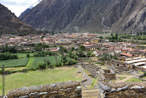 Wallpaper Mural Cusco, Peru - Oct 22, 2018: Views over the town from the Ollantaytambo archaeolo