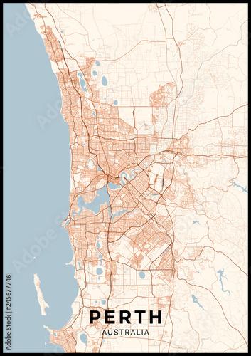 Fotografie, Obraz Perth (Australia) city map