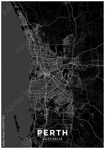 Fototapeta Perth (Australia) city map