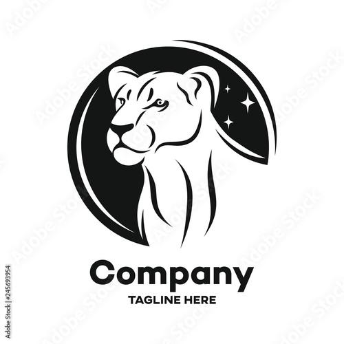 Stampa su Tela Modern black lioness logo