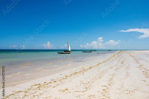 Sailboat at the diani beach in Kenya. Beautiful view on ocean