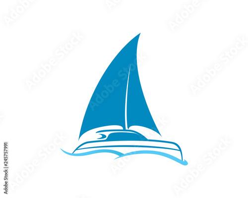 Fototapeta Catamaran, Ship and Sailing Boat Logo