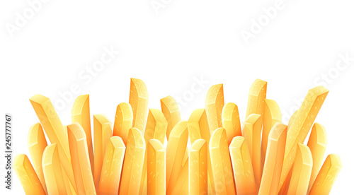 Tablou Canvas French fries. Roasted potato chips in deep fat fry oil potatoes.