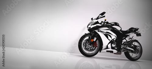 Bawi się motocykl na białym tle.