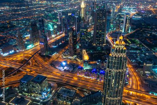 Obraz na plátne Aerial view of Dubai at night seen from Burj Khalifa tower, United Arab Emirates
