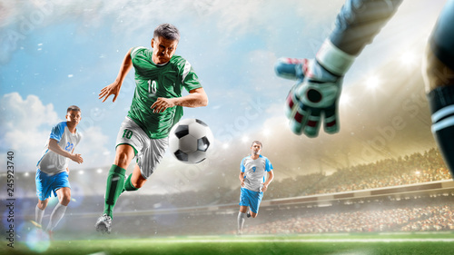 Fotografia Soccer players in action on the day grand stadium background panorama