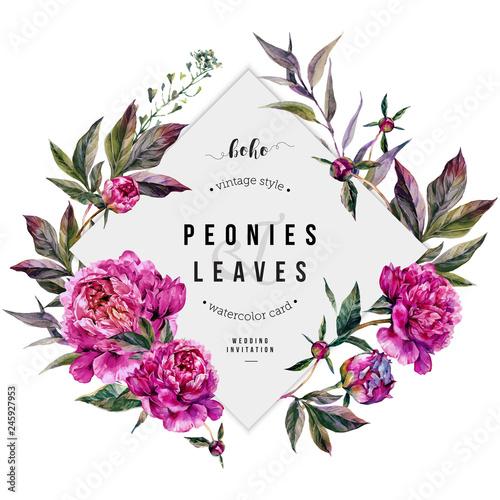 Valokuva Fuchsia Peonies Greeting Card