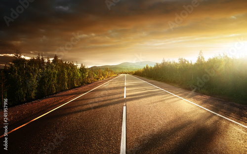 Canvas Print road in north mountains