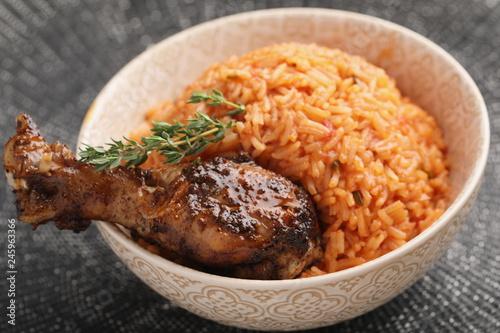 Nigerian Jollof Rice with chicken thigh