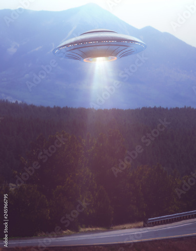 Unidentified flying object with light illuminating the runway. Your text underneath the UFO being illuminated by light.