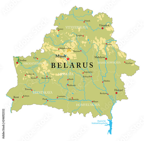 Canvas Print Belarus physical map