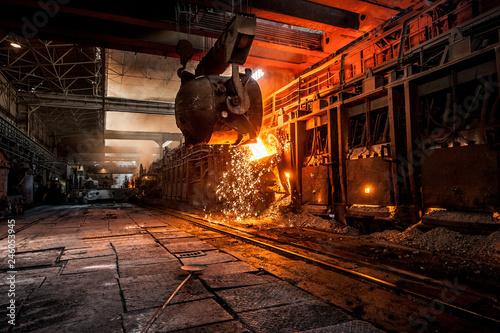 Stampa su Tela Pouring of liquid metal in open-hearth furnace