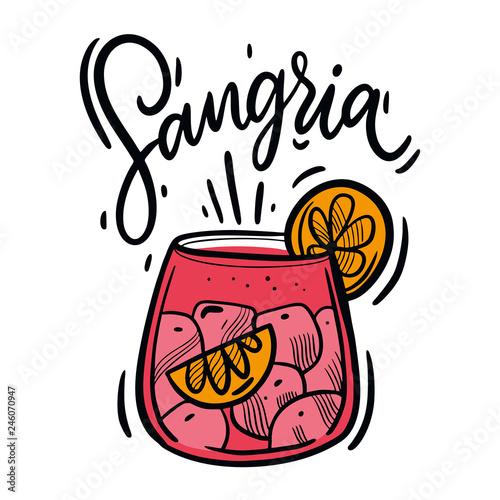 Obraz na płótnie Hand drawn Sangria summer cocktail vector illustration