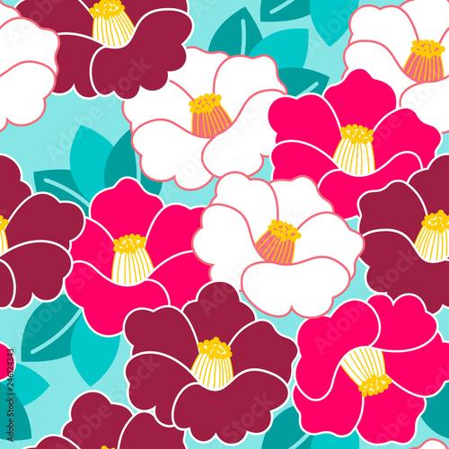 Fototapeta Floral pattern. Camellia. Ornament with oriental motifs. Vector.