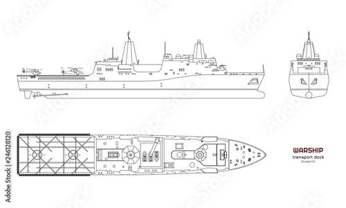 Fotografia Outline image of military ship