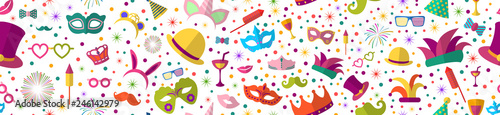 Foto Celebration festive background with seamless pattern carnival icons