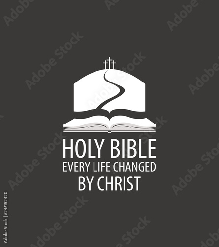 Foto Vector religious banner with open bible, mount Calvary and three crosses, with words Holy bible, Every life changed by Christ