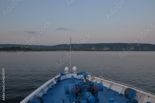 Fotografie, Obraz volga river sunset steam ship samara