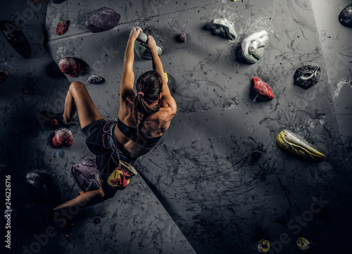 Canvas Print Back view of a young sporty woman climbing on practical rock wall indoors