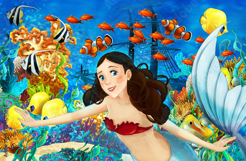 Cartoon ocean and the mermaid in underwater kingdom swimming with fishes - illustration for children