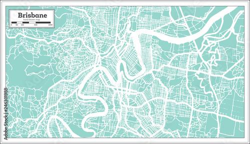 Fotografie, Obraz Brisbane Australia City Map in Retro Style. Outline Map.