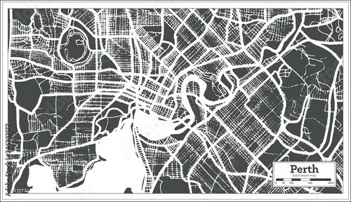 Obraz na plátně Perth Australia City Map in Retro Style. Outline Map.