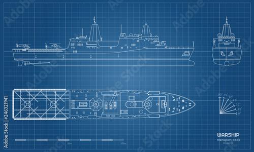 Canvas Print Outline blueprint of military ship