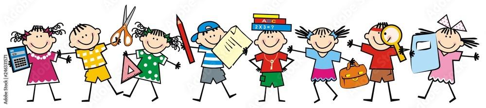 Szczęśliwe dzieci i przybory szkolne. Grupa dziewcząt i chłopców. Ikona wektor <span>plik: #246331571 | autor: janista</span>