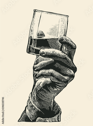 Leinwand Poster Male hand holding glass whiskey