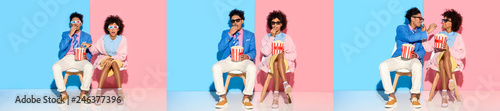 Fotografia collage of young african american man and woman putting on dark glasses, sitting