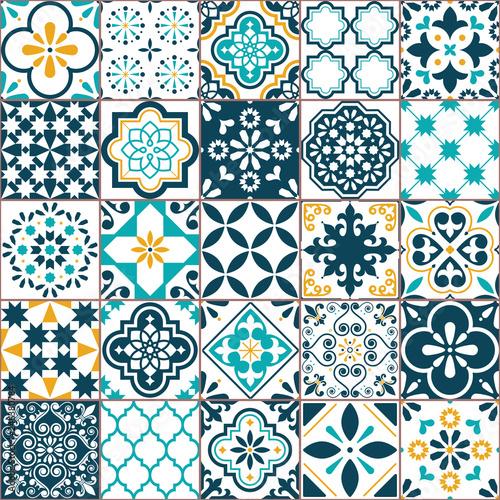 Fototapeta Lisbon geometric Azulejo tile vector pattern, Portuguese or Spanish retro old ti