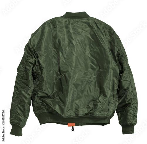 Fotografía Blank Pilot bomber jacket green color back view on white background