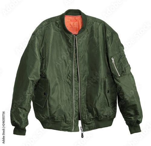 Blank Pilot bomber jacket green color front view on white background Tapéta, Fotótapéta