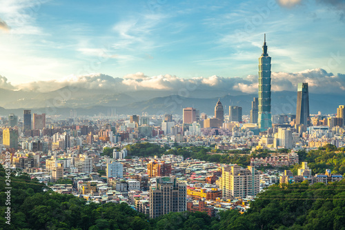 Fototapeta premium Panoramiczny widok na Tajpej, Tajwan