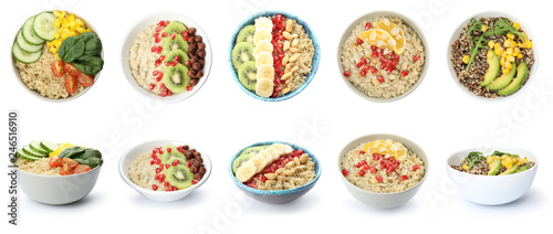 Set of bowls with healthy quinoa dishes isolated on white