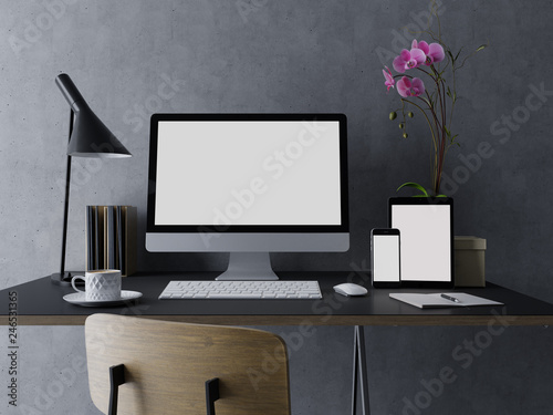 Vászonkép 3d illustration design of mock up template of empty white monitor screen for you