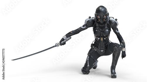 Fotografia Science fiction cyborg female kneeling on one knee holding a katana in one hand