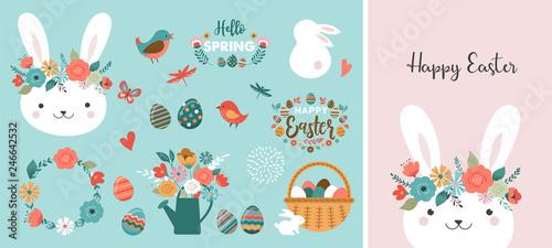 Fotografie, Obraz Happy Easter card - cute bunny, eggs, birds and flowers elements, vector illustr