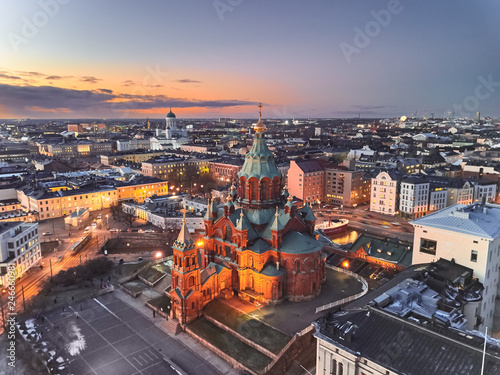 Canvas Print Aerial view of Uspenski Cathedral, Helsinki Finland