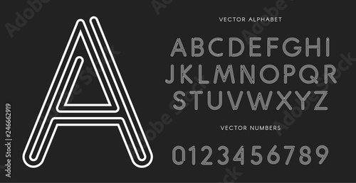 Fototapeta Line letters and numbers set on black background