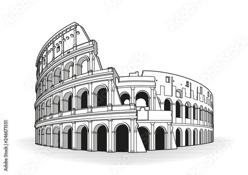 Rome coliseum hand drawn outline doodle icon Fototapet