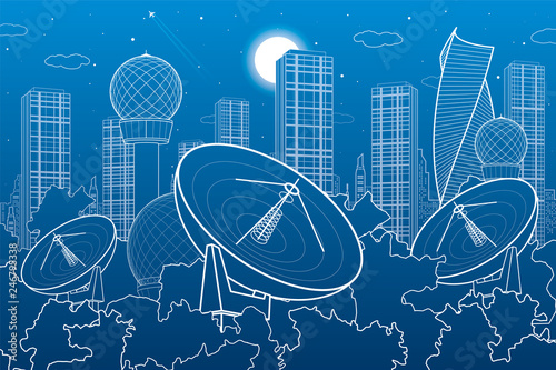 Foto Satellite dishes in the woods, antenna  communication technology, weather statio