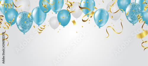 Photo blue balloons, vector illustration