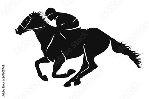 Fotografia Vector silhouette of a jockey racing on a horse.
