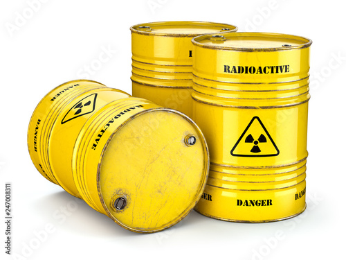 Carta da parati Barrels with radioactive waste isolated on white, Manufacturing of nuclear power and utilization of radioctive materials