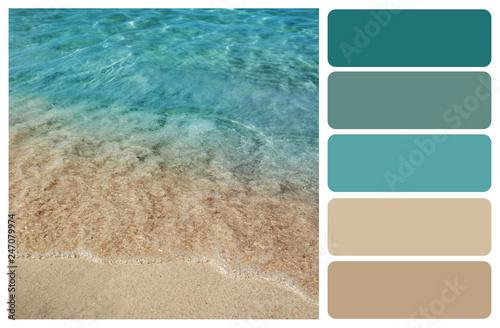 Wallpaper Mural Picturesque view of beautiful seashore. Color palette