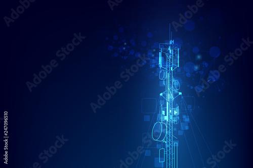 Carta da parati Antenna transmission communication tower vector background concept