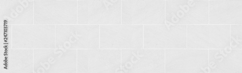 Fotografie, Obraz Panorama of white tile wall pattern and seamless background