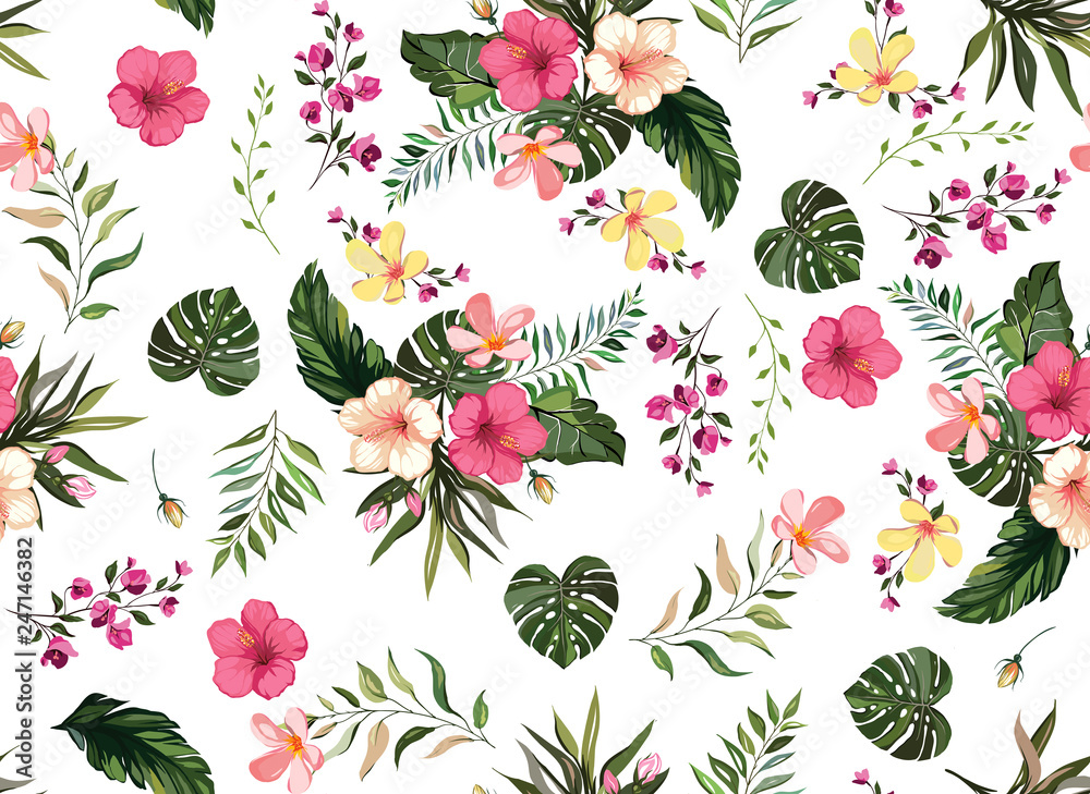 Floral tropical  seamless pattern background with exotic flowers, jungle leaves, monstera leaf, orchid, bird of paradise flower white background